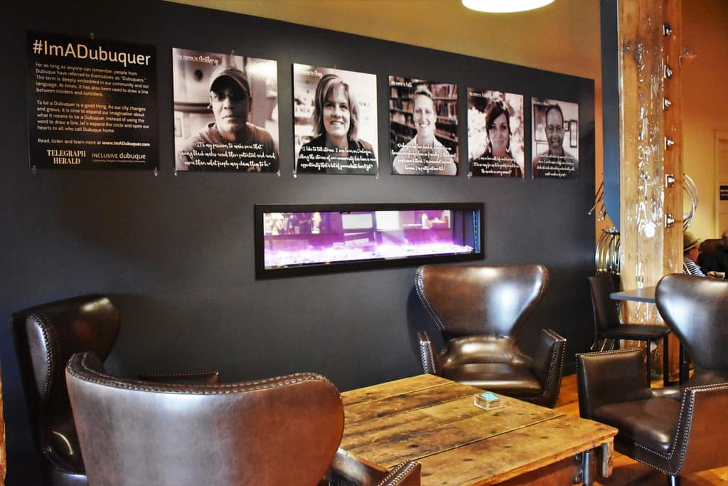An industrial chic atmosphere is found in this cozy seating area inside Inspire Cafe.