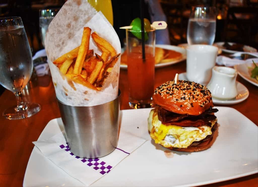 The Pig & Egg Burger is a perfect blend of breakfast and lunch, and makes a great meal choice on Sunday Funday.