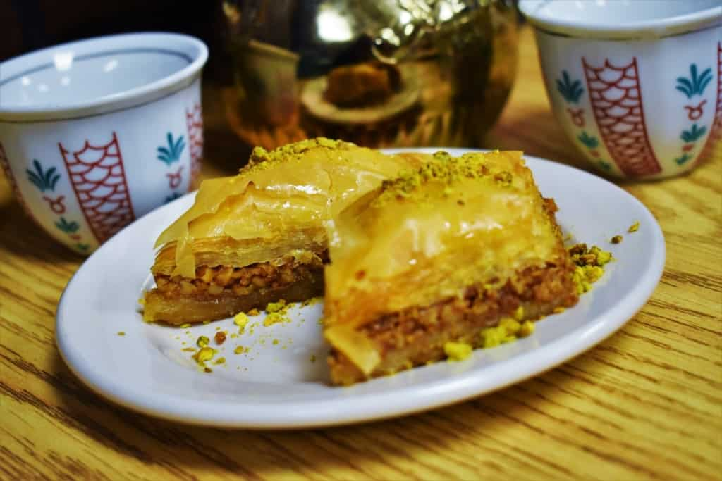A plate of baklava is a sweet and delicious after dinner treat at Queen Sweets Bakery.