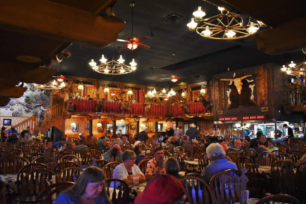 The interior of The Big Texan exudes cowboy spirit.