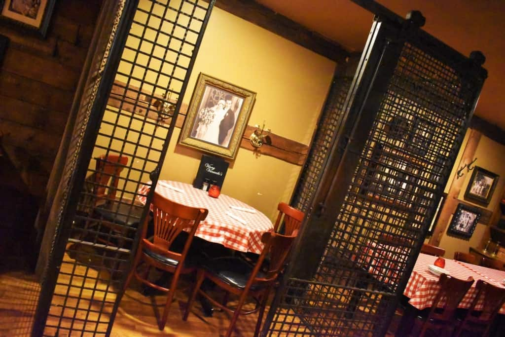 Special seating can be found at Vinny Vanucchi's, like this table housed in an old jail cell.