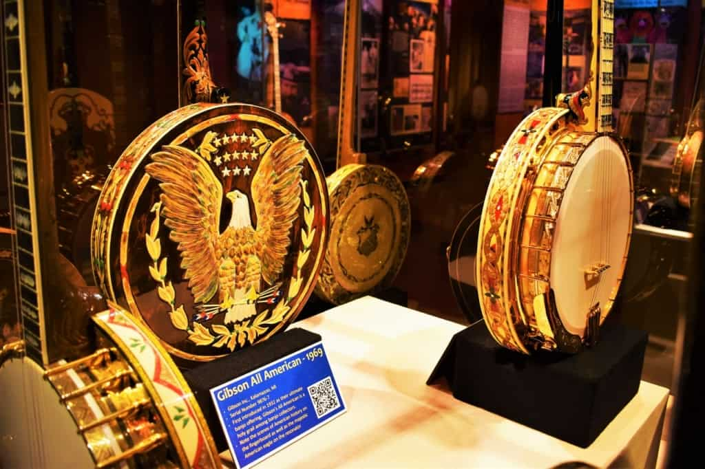 The intricate design work of the American banjo can be seen at the American Banjo Museum.