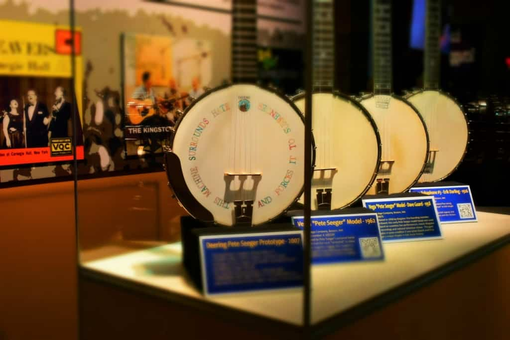 The banjos of Pete Seeger were easily recognizable after our visit to the Woody Guthrie Museum.