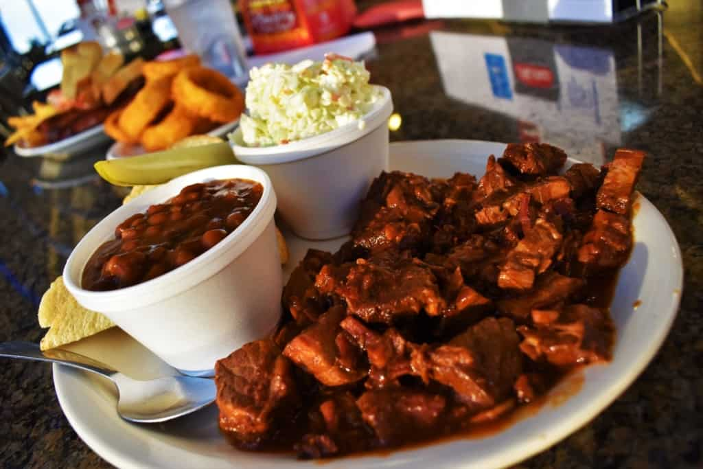 Who could resist the Burnt End Plate, that is filled with delicious and tender chunks of beef?