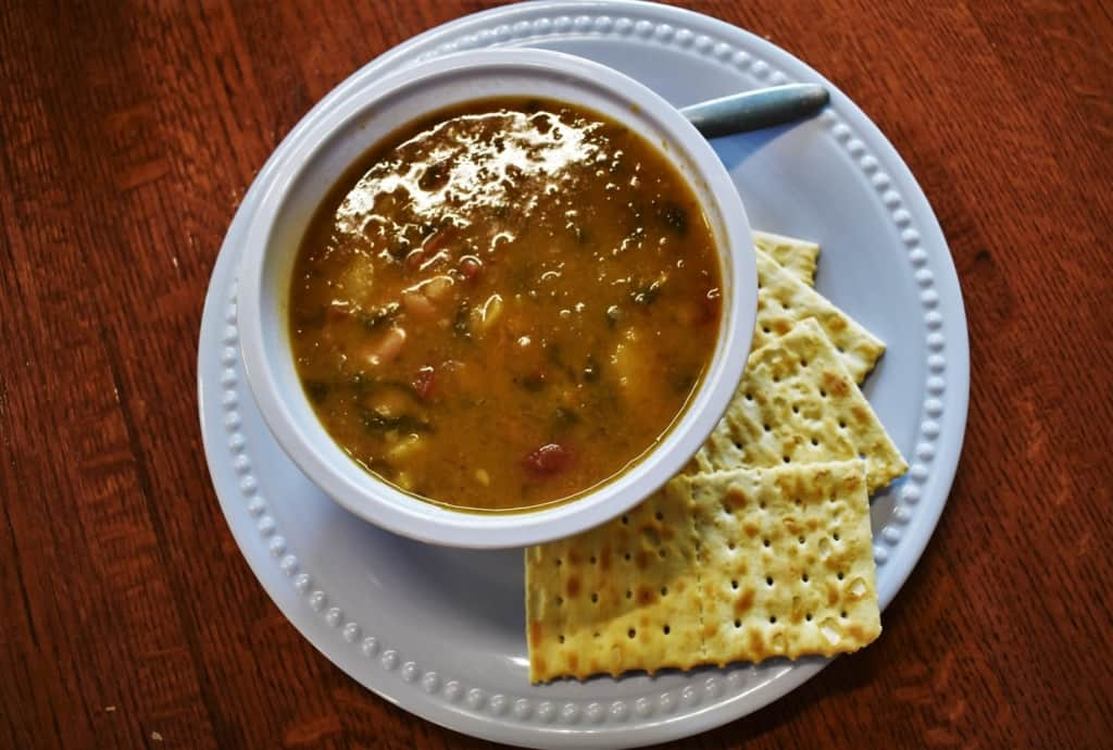 A warm bowl of soup helps cut the chill of a cold day.