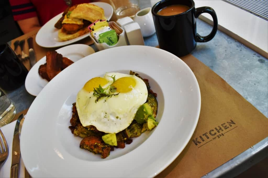 The breakfast Bowl is a flavor packed brunch option that includes a ton of locally sourced ingredients.