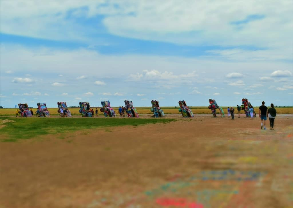 The Cadillac ranch is an art installation that show the evolution of the tail fins on ten different model years.