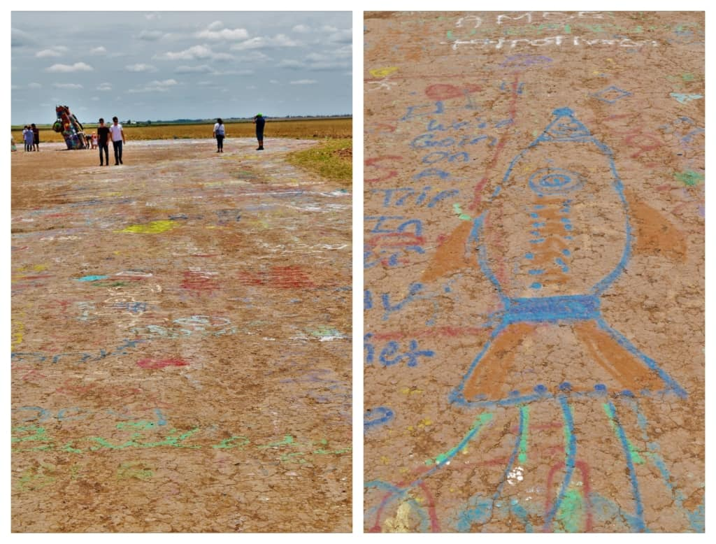The use of spraypaint by visitors, insures that there is an ever changing landscape at the Cadillac Ranch.
