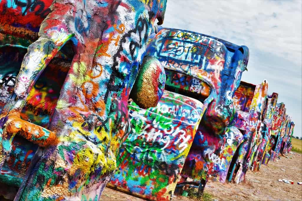 The brightly colored cars offer unique opportunity for budding artists.