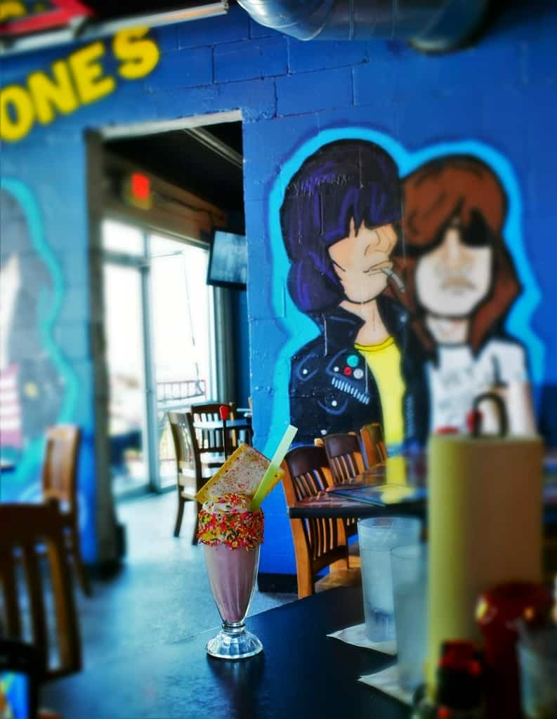 The bright colored walls add to the fun at S&B's Burger Joint in Oklahoma City.