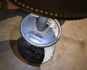 The stool at Bedlam Bar-B-Q reminds you that you are in the home of great barbecue flavor.