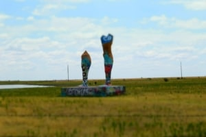 Seeing attractions like these crazy legs is a common occurrence when traveling Route 66 trips.