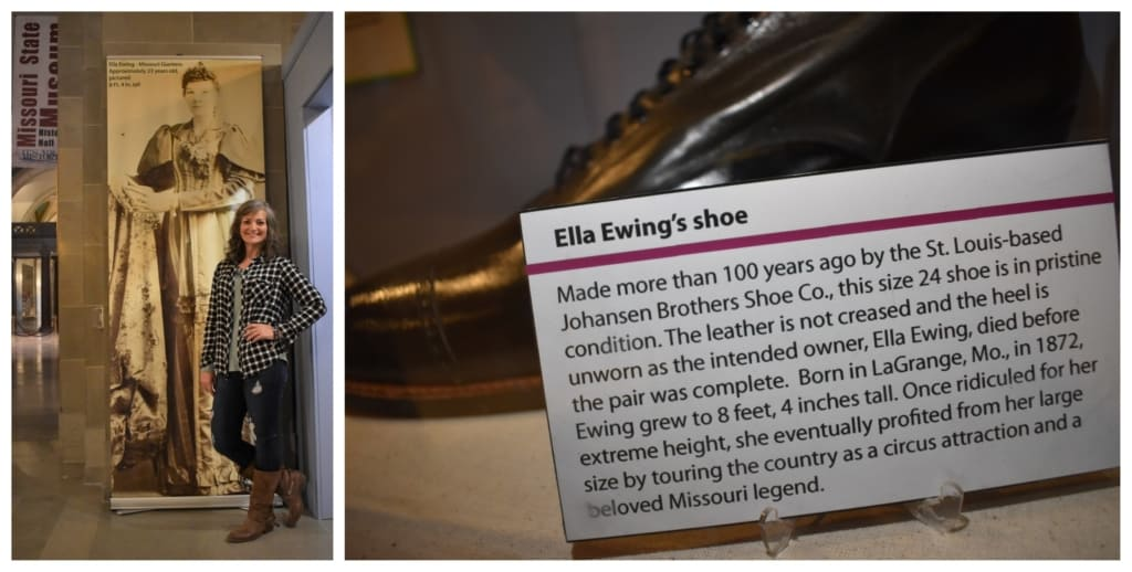 Crystal was sizing up some history at the Missouri State Museum, but came up about three feet too short.