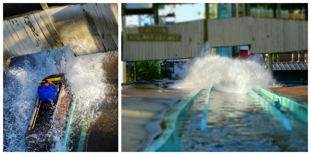 A good way to cool off from the Texas sun is a ride on the log flume.