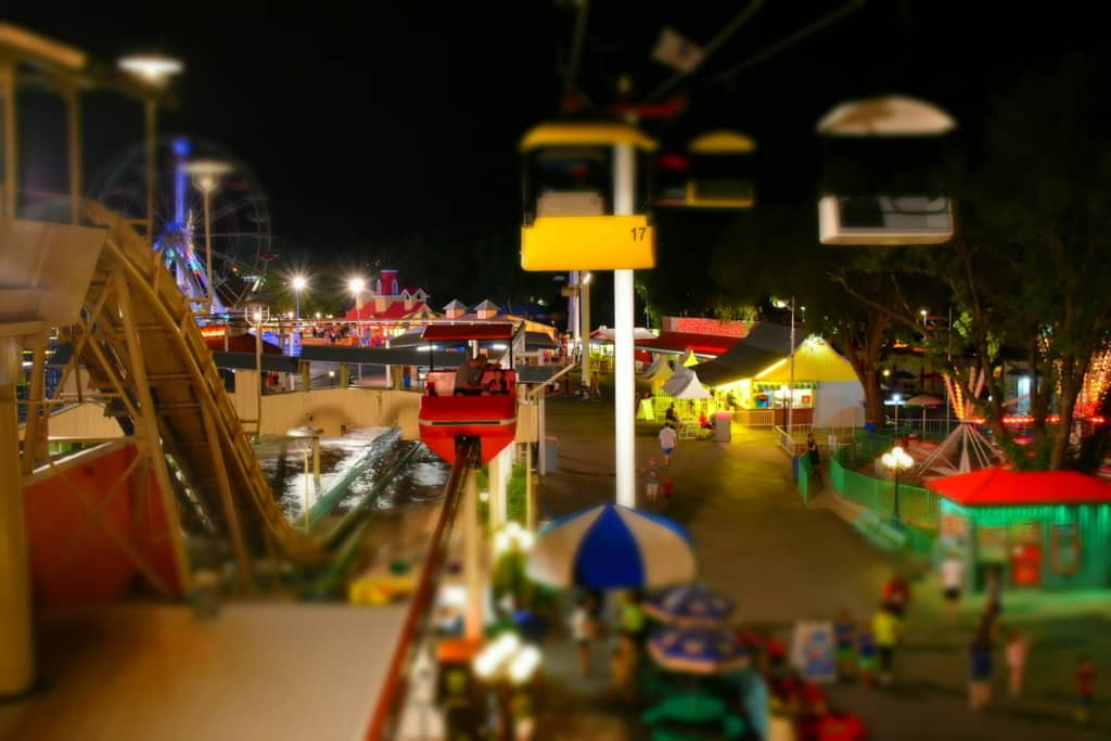 As darkness falls the lights highlight the colorful scene at Wonderland park in Amarillo, Texas.