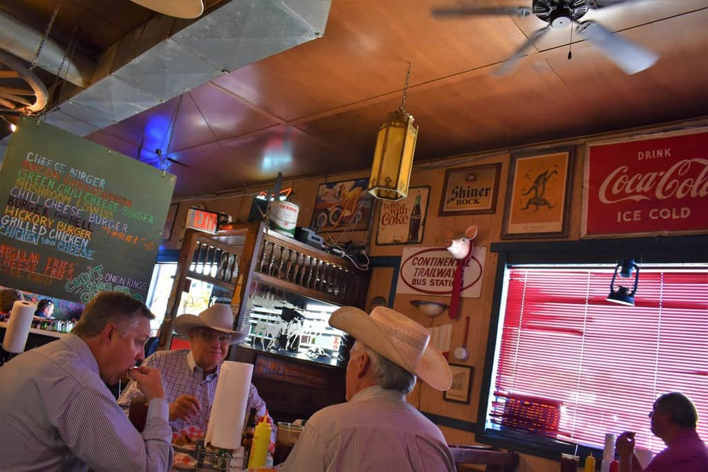 Diners cowboy up for lunch at Coyote Bluff cafe in Amarillo, Texas.