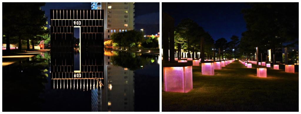 We rode the OKC Streetcar to the Oklahoma City Memorial for a nighttime visit.