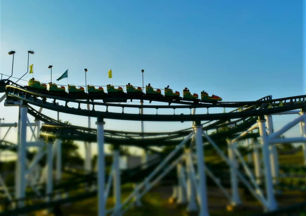 Riders enjoy a fast ride on a roller coaster at Wonderland park in Amarillo, Texas.