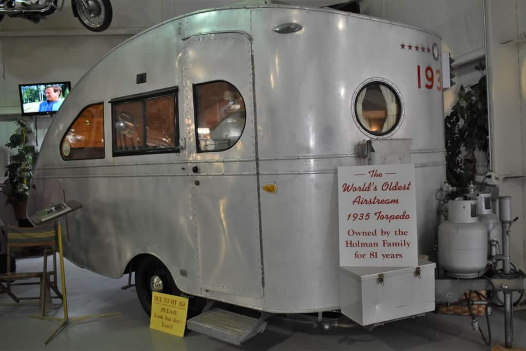 They have the World's Oldest Airstream trailer on display at the Sisemore Traveland RV Museum.