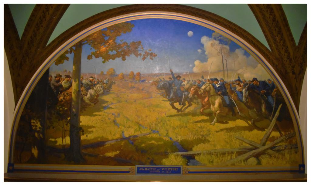 One of the murals at the Missouri capitol depicts the Battle of Westport.