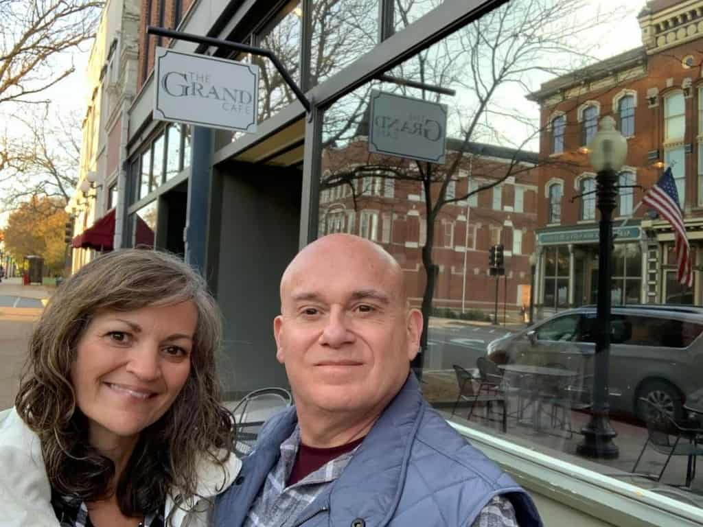 The authors pose for a selfie outside of The Grand Cafe in Jefferson City, Missouri.