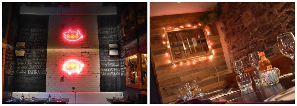 The interior of Faite a l'os is a blend of barbecue joint and modern urban decor.