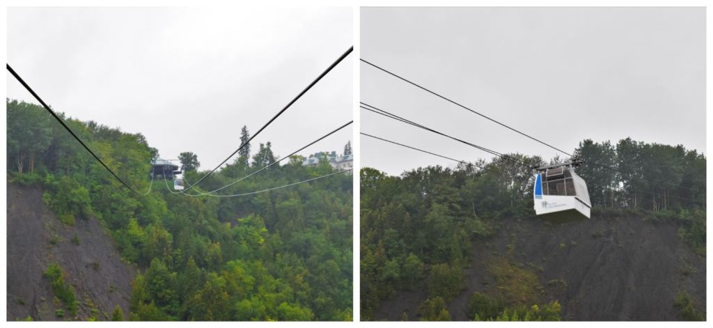 Riding the cable cars to the top of Montmorency falls is much easier than the 487 steps on the staircase.