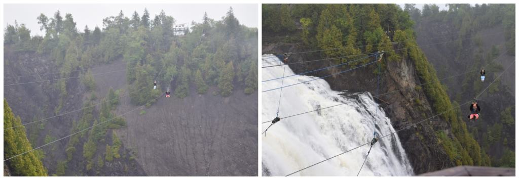 Watching zip-liners pass in front of Montmorency Falls is exhilarating.