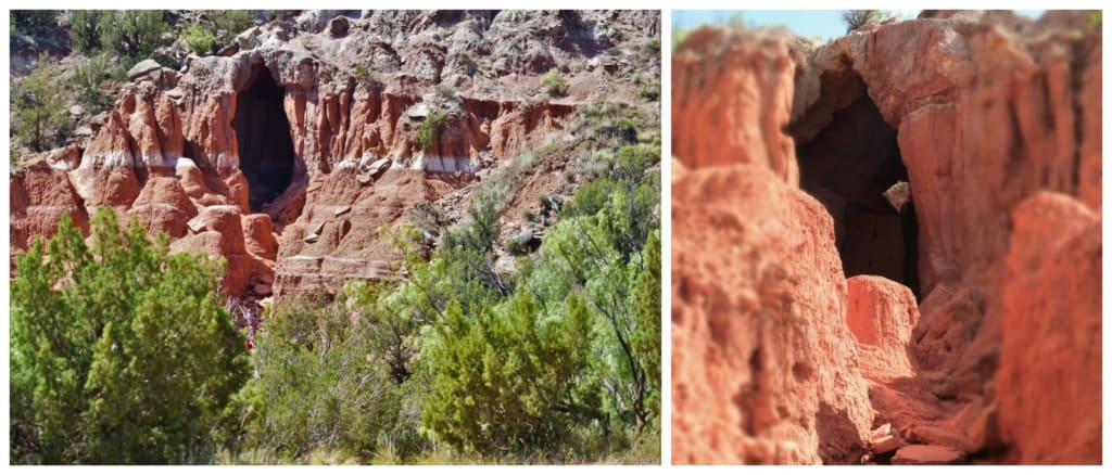 The Big Cave is a natural landscape feature created by erosion in Palo Duro Canyon State Park.