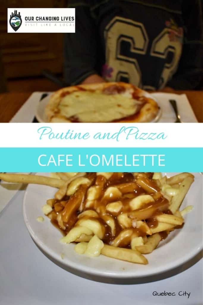 Poutine and pizza-Quebec City-Canadian food-cheese curds-French restaurant-Cafe L'Omelette