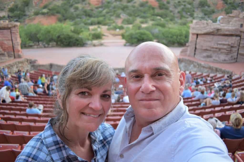 The authors prepare for an evening of entertainment in the Palo Duro Canyon.