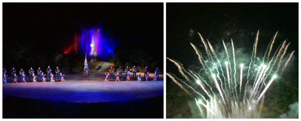 The grand finale is a patriotic piece filled with music, song, fountains, and fireworks.