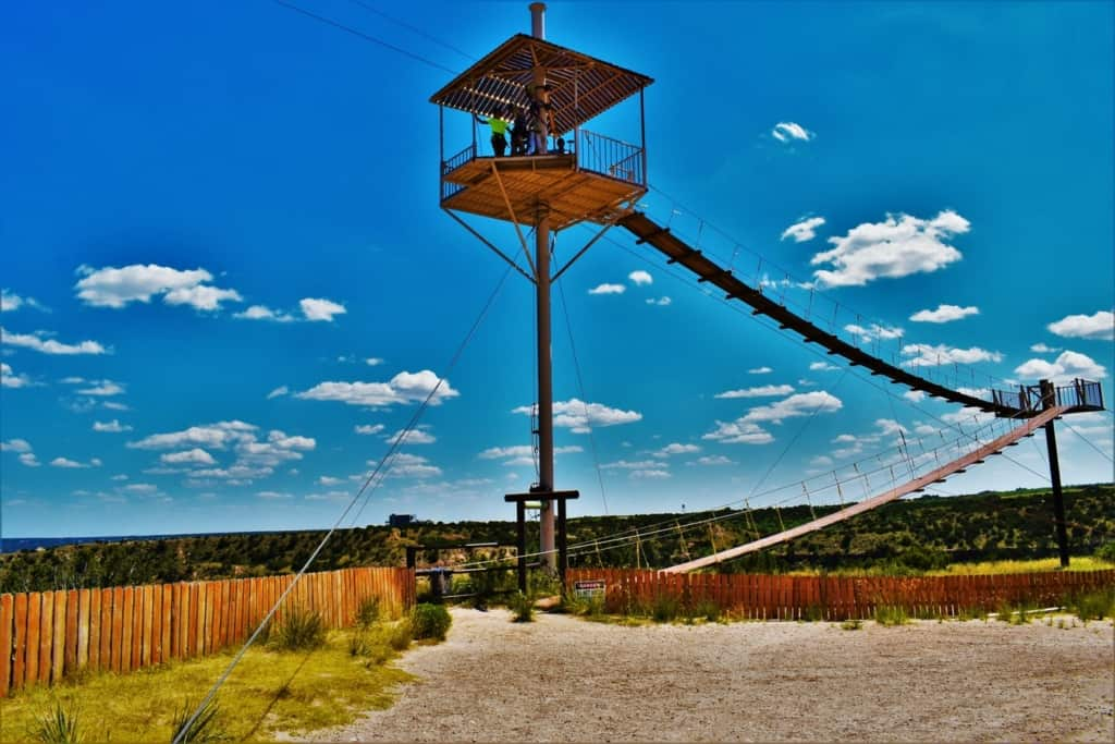 The approach to the Palo Duro Canyon Zip-line Adventure gets the adrenaline rushing.