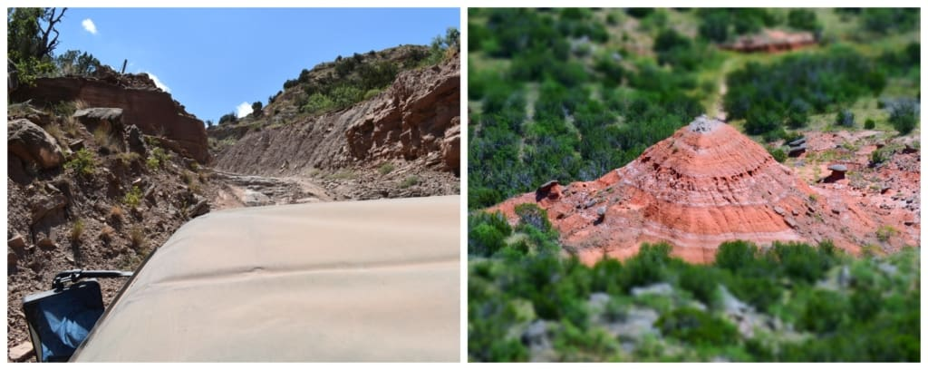 Our jeep tour, at Palo Duro Creek ranch. gave us a wild ride up and down a canyon wall.