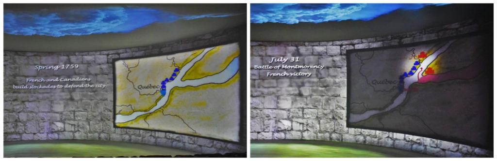 The visual presentation walks visitors through the events of the battle of the plains of Abraham.