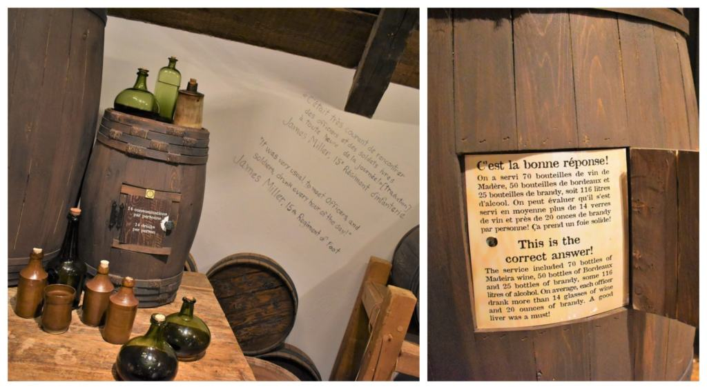 One of the displays at the Plains of Abraham Museum details the excessive amount of drinking done by soldiers during camp life in early Quebec City.