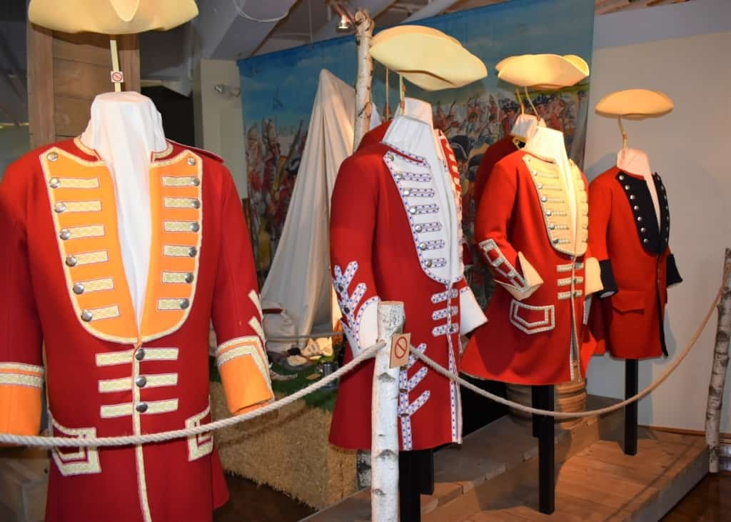 Brightly colored British uniforms are among the displays at the Plains of Abraham Museum in Quebec City.