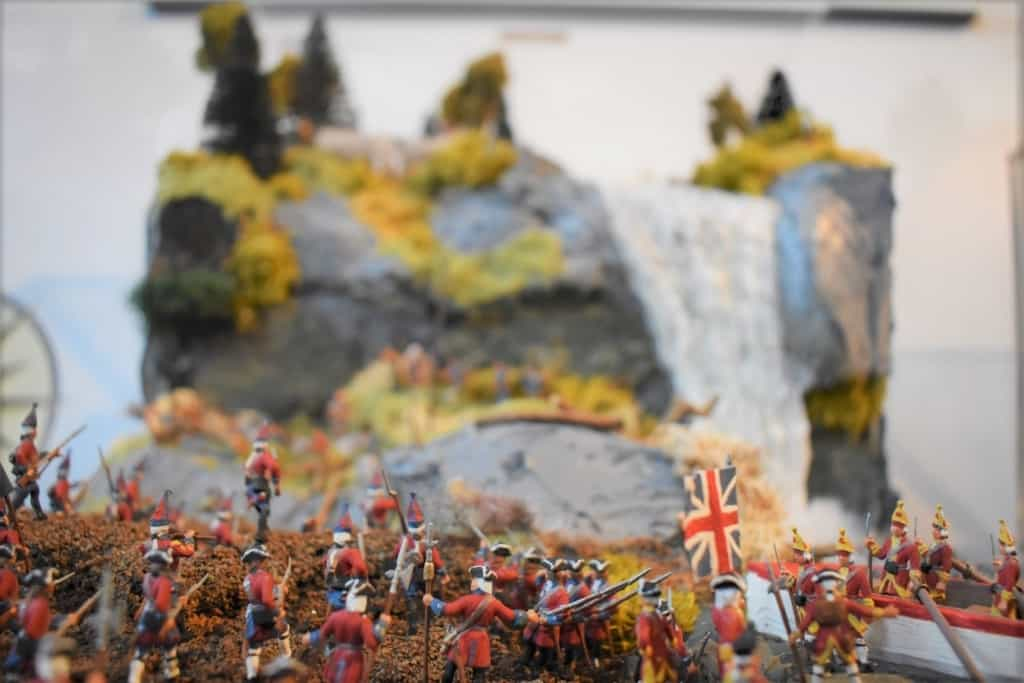 A diorama details the British advance during the Battle of Montmorency.