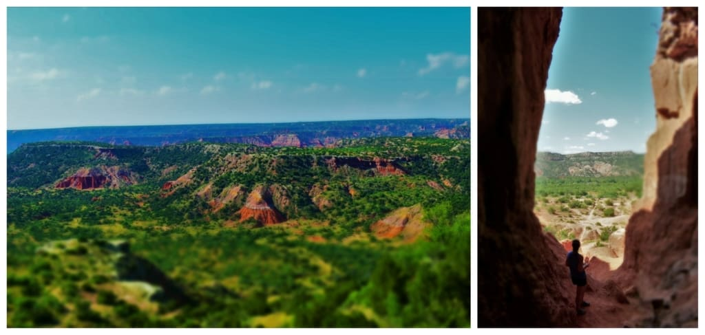 The sheer beauty of Palo Duro Canyon can be found from looking out over the rim or during a hike inside the National park.