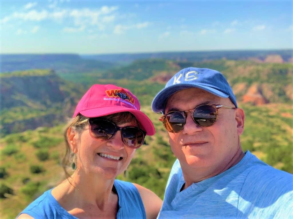 The authors take a break from playing in the Panhandle to pose for a selfie during a visit to Palo Duro Canyon.