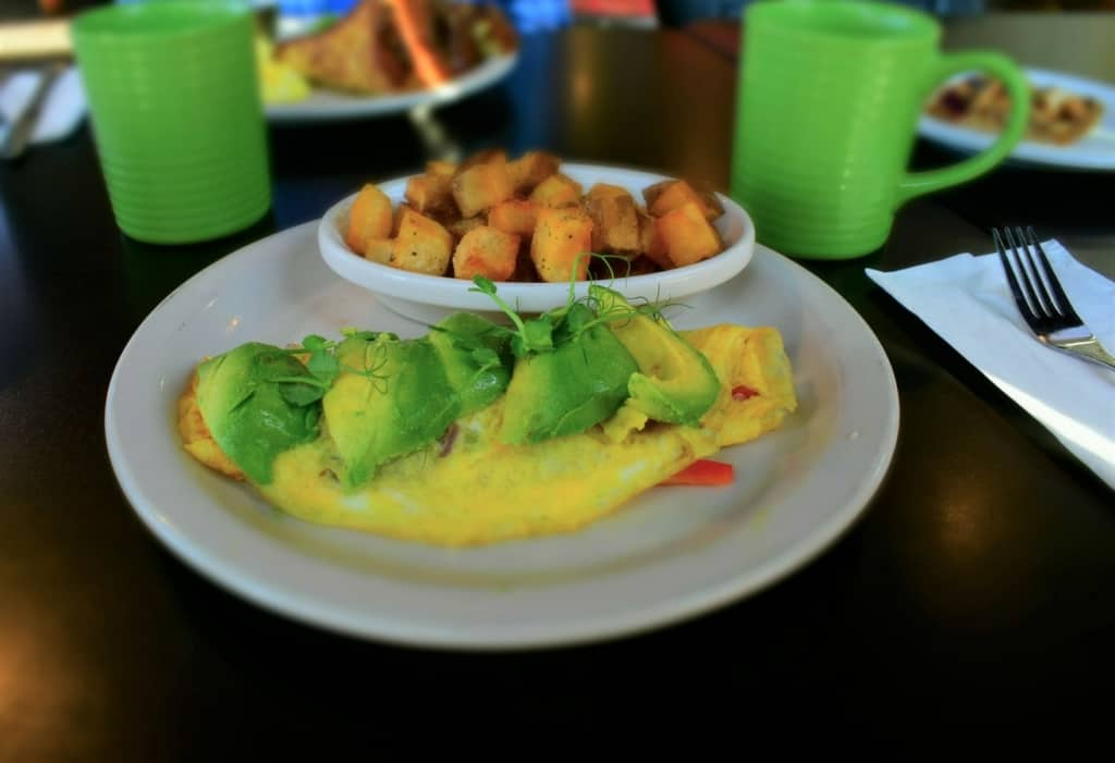 The omelette with fresh sliced avocado had Crystal going green for breakfast.