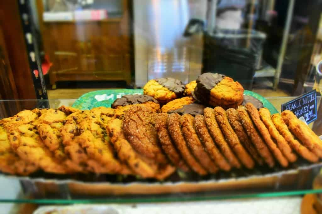 A tray filled with freshly baked cookies is hard to pass up as a delicious snack for the road.