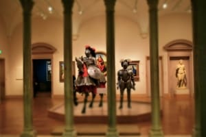 A war horse and soldiers armor make for an imposing display at the Nelson-Atkins Museum of Art in Kansas City.