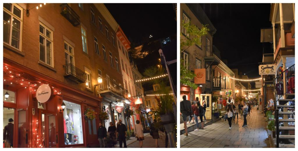 Nighttime in Quebec City is filled with shopping and dining in the lively districts found throughout the city.