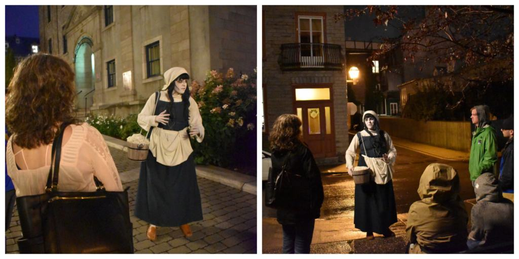 Our tour guide was dressed as a ghost of one of Quebec City's executioner's wives.
