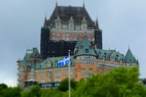 The view from above includes seeing Chateau Frontenac that sits on the edge of Upper Town, in Quebec City.