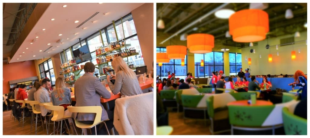 The colorful open spaces in Snooze make for a fun breakfast atmosphere.