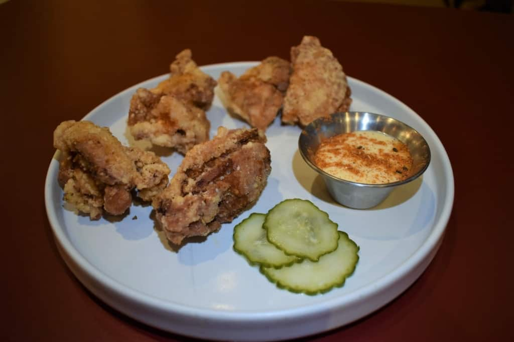These crispy fried chicken thighs are extra yummy when paired with the special dipping sauce.