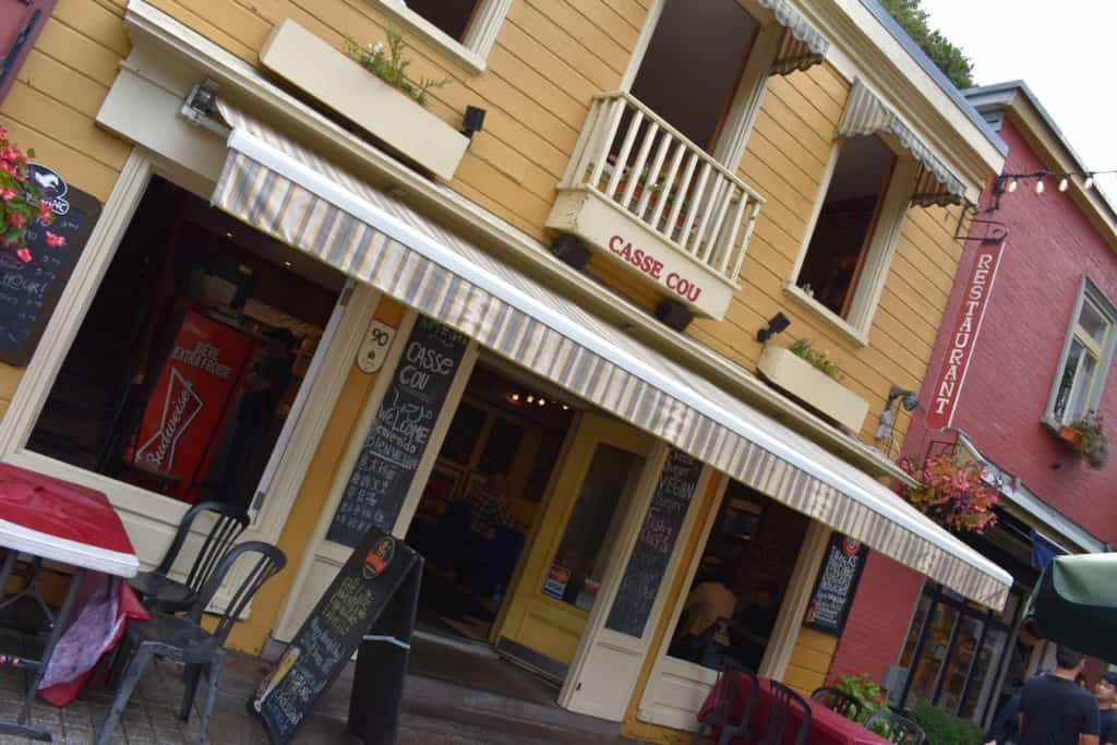 Casse Cou is one of the many restaurants found along Rue du Petit Champlain in Quebec City's Lower Town.