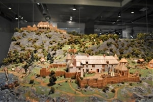 A diorama of an early Quebec City helps visitors during their task of capturing history.